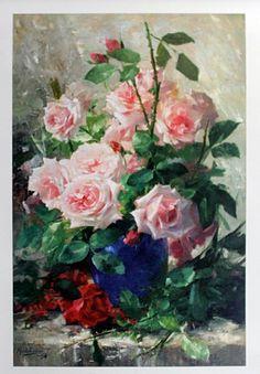 Still Life of Pink Roses by Frans Matelmans♥