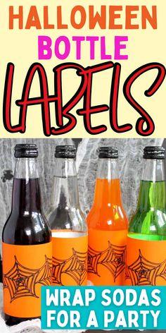Fun DIY bottle labels. How to make soda bottle wraps. Fun halloween decor idea. Halloween Treats, Halloween Party, Halloween Decorations, Halloween Bottle Labels, Diy Bottle, Soda Bottles, Fun Diy, Wraps, Fun Crafts To Do
