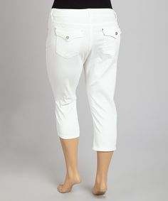 Another great find on #zulily! White Flap-Pocket Twill Capri Pants - Plus by 1826 Jeans #zulilyfinds