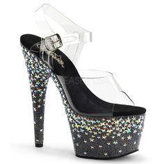 Pleaser STARSPLASH-708 Clear / Black ( Silver Hologram Stars) Platforms (Exotic Dancing) 7 Inch Heel, 2 3/4 Inch Ankle Strap Sandal with Holo Sta Rhinestones