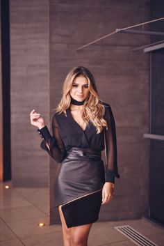 Asymmetrical black faux leather and suede skirt with exposed zipper paired with black  long-sleeved chiffon blouse.. DIY the look yourself: http://mjtrends.com/pins.php?name=metal-zipper-for-skirt