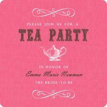 Pink Vintage Tea Pot Tea Bridal Shower Invite