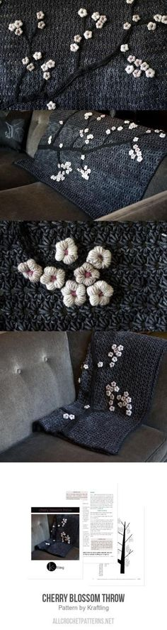 Cherry Blossom Throw Crochet Pattern for purchase