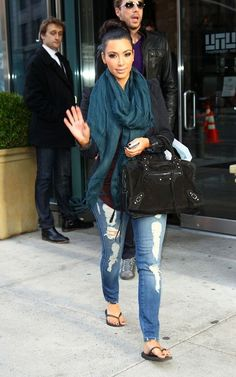 Kim Kardashian Rocking A Teal Scarf. #style#celebrity Repin & Follow my pins for a FOLLOWBACK!
