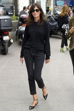 Le Fashion Blog 11 Ways To Wear Kitten Heels Emmanuelle Alt Street Style Ray Ban Wayfarer Sunglasses Black Sweater Cropped Jeans Ankle Strap...