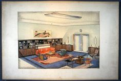 Untitled [Design for the interior of a living room] Above Couch, Vintage Interiors, L Shape, Wood Cabinets, Upholstered Chairs, Paper Design, Designs To Draw, Living Room