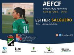 Esther Salguero. La jugadora de Talavera aporta juventud y consistencia. Gran centrocampista. #EFCF #futfem #Almendralejo #Extremadura #futbol