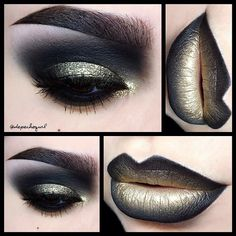 """#ShareIG ✨Ornaments of Gold✨ (song by Siouxsie & The Banshees that I was listening to all day that inspired this look) Lips - @five11_cosmetics """"Rich"""" & """"Black Beauty"""" Lipsticks and @nyxcosmetics """"Two Timer"""" Liner. Eyelid - @five11_cosmetics """"Rich"""" Lipstick as a base and @makeupgeektv """"Utopia"""" Pigment under @shopvioletvoss """"Geri"""" Glitter. Brows - @nyxcosmetics """"Black"""" Brow Gel. @five11_cosmetics """"Anna"""" Mink Lashes. All @kizmet brushes used."""