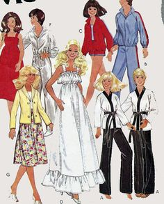 1970s Vintage Sewing Pattern McCalls 6317 Evening Day & Active Sportswear Fashion Wardrobe for Barbie and Ken Dolls UNCUT No Envelope