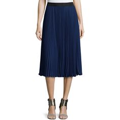 Rebecca Taylor Accordion-Pleated Midi Skirt ($379) ❤ liked on Polyvore