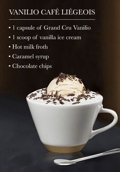 Discover your favorite Nespresso moment with this Vanilio Café Liégeois recipe. The combination of sweet chocolate flavor and silky ice cream is sure to inspire your senses. Coffee Drink Recipes, Tea Recipes, Coffee Drinks, Espresso Drinks, Coffee Cafe, Starbucks Coffee, Coffee Shop, Coffee Truck, Latte Art