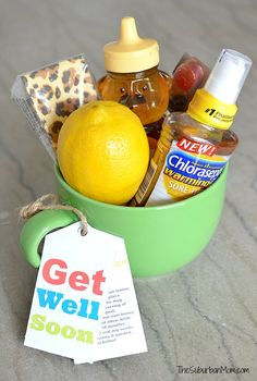 Cheer up a sick friend or neighbor with Get Well Soon Gift Basket ideas. Plus download a Free Printable Get Well Soon Tag & soothing honey lemon recipe tag.