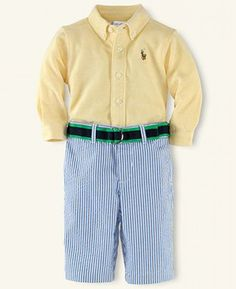 Baby boy B will have at least a dozen outfits like this! Ralph Lauren Baby Set, Baby Boys Oxford and Seersucker Pants - Kids Baby Boy months) - Macy's Baby Set, Baby Boy Outfits, Kids Outfits, Seersucker Pants, Little Man Style, Pajama Romper, Kids Pants, Dresses With Leggings, Baby Girl Newborn