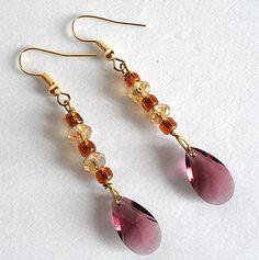 Czech Crystal Dangle Earrings  Purple Amber & by KATcustomDESIGNS, $12.00