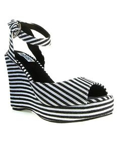 Take a look at this Black & White Stripe Rita Wedge by Ssh-oes on #zulily today!