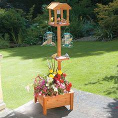 My Bird Feeding Station Table Planter w/Solar Light - Bird Tables, Bird Feeding Station, Bois Diy, Planter Table, Wood Bird, Backyard Birds, Garden Birds, Diy Garden Decor, Garden Projects