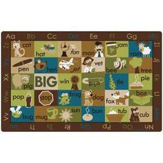 """Rhyme Time Classroom Rug - Rectangle - 7' 6""""W x 12'L - Nature Colors at SCHOOLSin"""