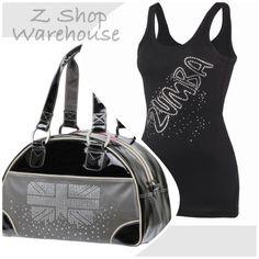 ZUMBA FITNESS 2 PIECES! London Love Bowler Bag and Studded RARE Gleam Tank Small #ZUMBA #ShirtsTops