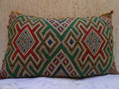 24 x 14 -Vintage Moroccan Berber Lumbar Pillow Cover- Woven Wool Cushion-Moroccan Decorative Throw- Hand Loomed Wool