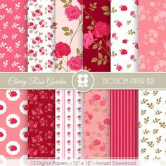Pink Rose Digital Paper, Shabby Chic Digital Paper Pack, Cherry Roses INSTANT DOWNLOAD  Use for Scrapbooking, Cardmaking, Handmade Stationery,