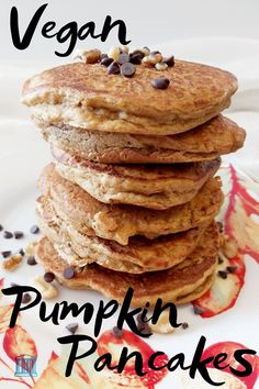 Thick and fluffy vegan pumpkin pancakes are easy to make and simply delicious. The perfect fall time breakfast to enjoy this autumn, topped with sweet maple syrup. Learn to make easy pumpkin pancakes from scratch. #fallrecipes #pumpkinpancakes #pumpkinpancakerecipe #veganrecipes #vegan #easy #breakfast