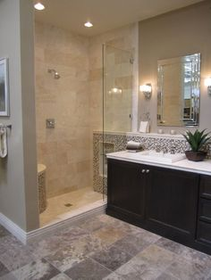 bathrooms - tile from the Tile shop Kirsty Froelich - custom dark bathroom cabinets turkish and peruvian travertine