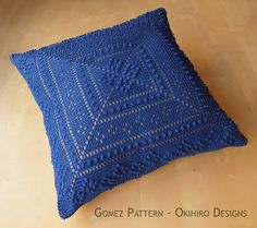 """Gomez Patten 16"""" Crochet Square Pillow - MADE TO ORDER - Double Sided design, custom colors"""