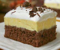 Zákusok s vanilkovým pudingom - Mňamky-Recepty. Bosnian Recipes, Croatian Recipes, Eat Dessert First, Pavlova, Trifle, Something Sweet, Cake Cookies, Vanilla Cake, Cheesecake