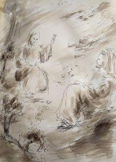 10 Avril 2018, évangile du jour illustré par un dessin au lavis