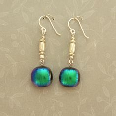 Emerald Green Dichroic Glass and Sterling Silver Earrings w/ Handmade Sterling Silver French Ear Wires; $36.