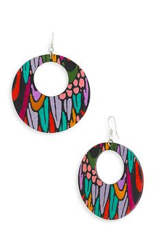 Passionflower Open Circle Drop Earrings w/Art-Nouveau print, reminds me of a stained glass window.