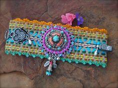 Festival of Colors BUDDHA cuff BRACELET Tribal native friendship bracelet STATEMENT bracelet Fabric cuff yoga gypsy hippie hand made jewelry. $108.00, via Etsy.