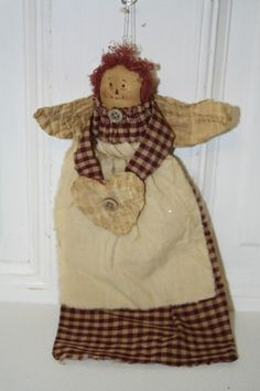 "10.5"" Primitive rag doll angel ornament holding heart.  MINT $8.50"