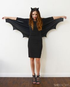 DIY bat Halloween costume for ladies short on time