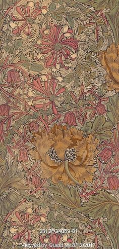 Honeysuckle, furnishing textile, by William Morris. Leek, England, 1876