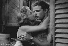 Marlon Brando and Kim Hunter in A Streetcar Named Desire (1951)    Life.