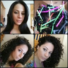 Straw Curls. An easy way to make kinky heatless curls. Wrap sections of hair around drinking straws then tie in a knot. So simple!