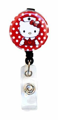 Amazon.com: SIZZLE CITY New Custom Hello Kitty Nurse / RN / CNA / LVN / Nursing Student Badge Reel Retractable ID Badge Holder (Red): Office...