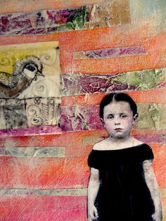 "Emma's Dilemma by MaudstarrArt, Heidinotes: find an image of a child that speaks to you.  Collage a background of torn paper.  Choose an animal to ""watch over"" the child.  Journal about your inner kid and how the images speak to you somewhere on the page."