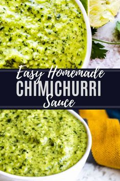 This Easy Chimichurri Sauce recipe is a great healthy, vegan and gluten free homemade sauce for grilled meats, veggies, a marinade or condiment! Pork Rib Recipes, Sauce Recipes, Diet Recipes, Vegan Recipes, Cooking Recipes, Freezer Recipes, Grill Recipes, Barbecue Recipes, Barbecue Sauce