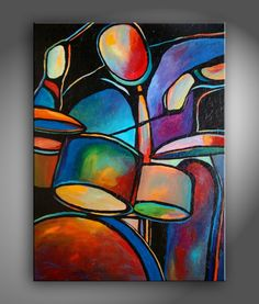 """30""""x40"""" Original Acrylic Painting Abstract Music Drummer by Mike Daneshi- Free shipping within U.S.A."""