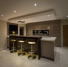 A sophisticated lighting scheme creates a stunning atmosphere at night