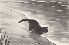CAT BY WATERSIDE - Agnes Tait,  American 1894-1981 20th century lithograph