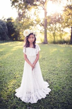 4799e6e2b94 Beach Boho Flower Girl Dress White Lace Maxi Dress Rustic