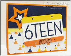 License Plate card, sixteen, star, birthday!  Stampin' Up!, #stampinup.  My card for the SUO Challenge this week for teen card designs!  Order supplies from Connie Babbert, www.inkspiredtreasures.com