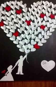 quadro de assinaturas com balões de coração! que lindo!