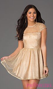 Buy Short Shimmering Scoop Neck Dress  at PromGirl