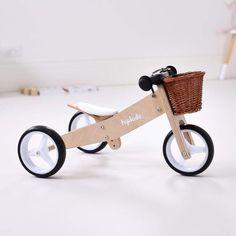 2 in 1 Toddler Mini-Trike w/ Wicker Basket Wooden Baby Toys, Wood Toys, Baby Kicking, Balance Bike, Cnc Projects, Name Stickers, Kids Bike, Tricycle, Wicker Baskets
