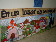 Me gustaría colaborar en vuestra exposición sobre El Quijote y os envío un mural cofeccionado por alumnos del COLEGIO JESÚS MAESTRO (DISCÍPULAS) de FERROL, en Galicia. Dom Quixote, Ap Spanish, Hispanic Heritage, Class Decoration, Spanish Classroom, Spanish Language, 4 Kids, Art Lessons, Playroom
