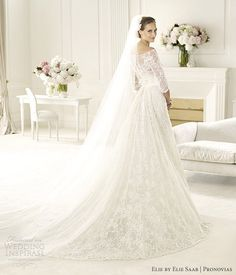elie by elie saab pronovias 2013 wedding dresses folie long sleeve wedding dress. This is beautiful. Exactly what I want! I especially love the length of the veil